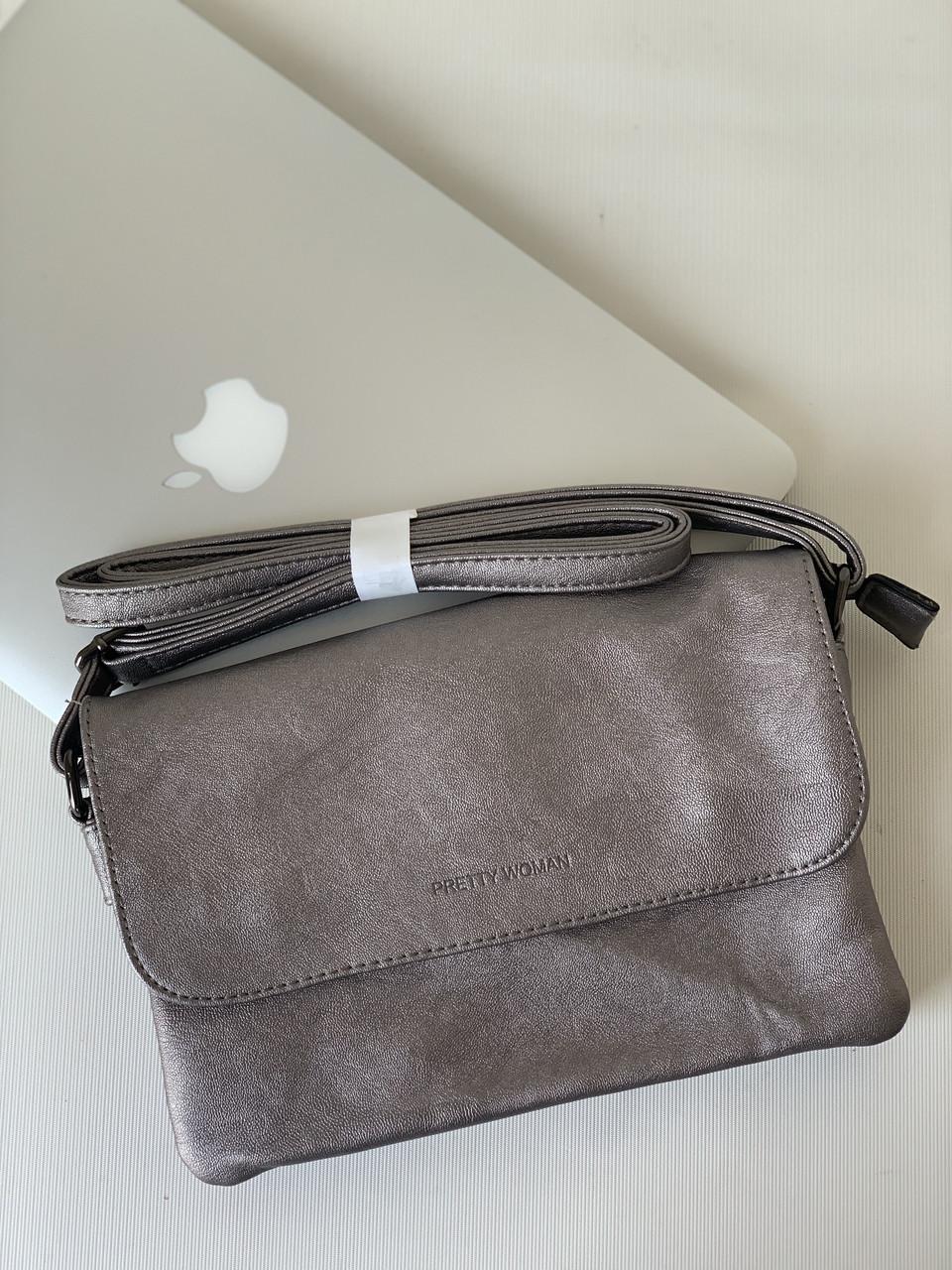 Женская сумочка кроссбоди клатч серебристая маленькая универсальная через плечо Pretty Woman