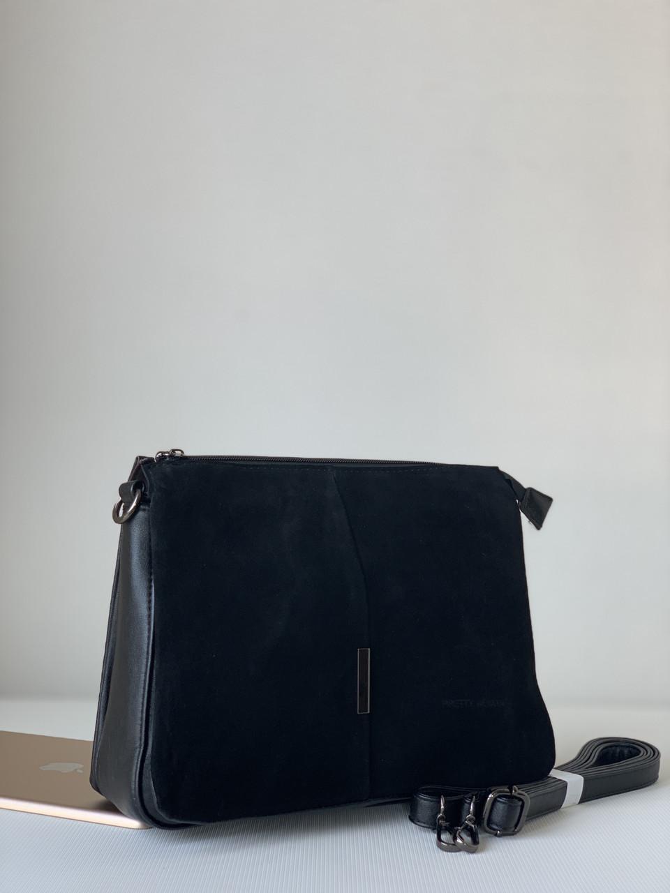 Замшевая женская черная сумка классическая офисная повседневная городская Pretty Woman