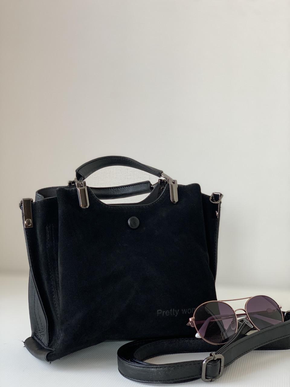 Маленькая черная замшевая сумочка классическая через плечо Pretty Woman