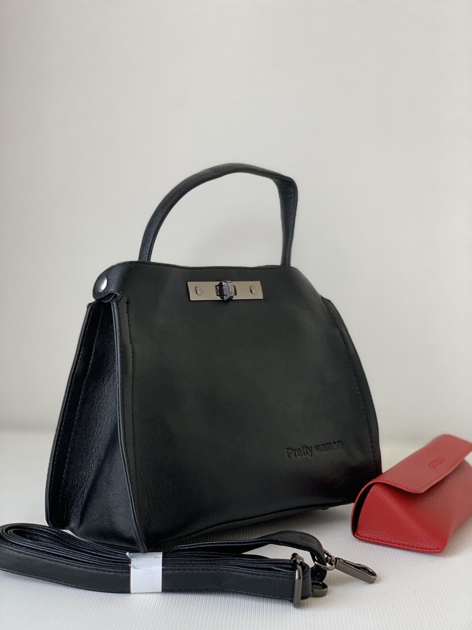 Женская маленькая классическая черная сумочка матовая Pretty Woman