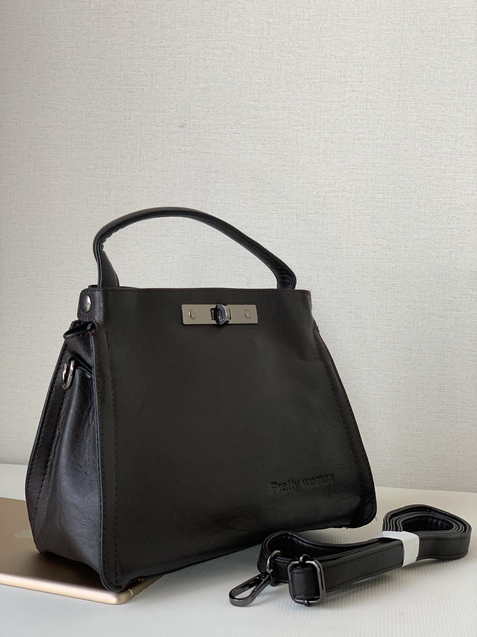 Маленька жіноча сумка темно-коричнева шоколадного кольору через плече кроссбоди Pretty Woman