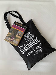 Эко сумка для покупок тканевая черная с принтом