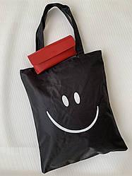 Молодежная тканевая эко сумка шоппер черная с принтом смайлика