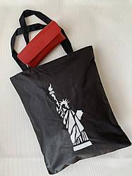 Молодежная черная экосумка шоппер из ткани с принтом Статуи Свободы