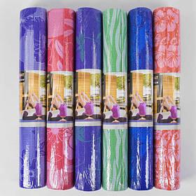 Коврик для йоги Йогомат Цветы 173*61 см С40245