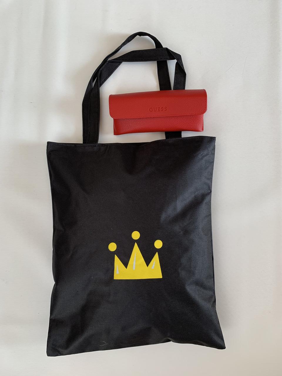 Молодіжна сумка шоппер тканинна чорна з принтом