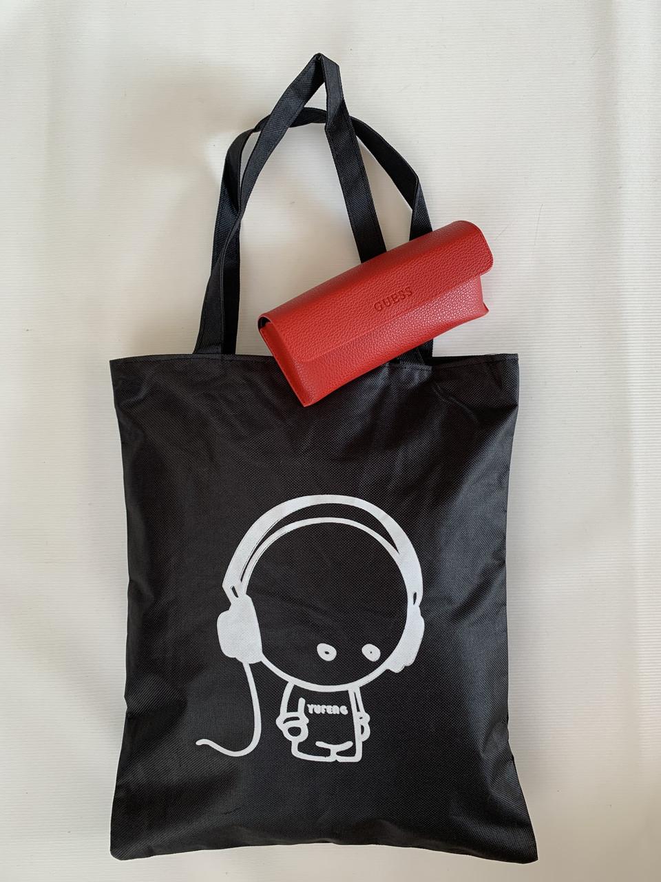 Тканинна еко сумка міська бавовняна чорна з принтом