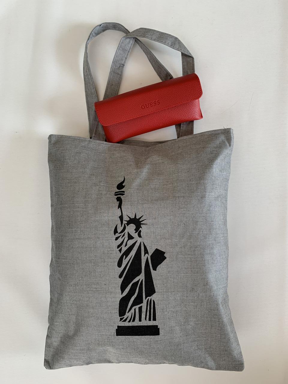 Универсальная серая эко сумка из хлопковой ткани с принтом Статуи Свободы