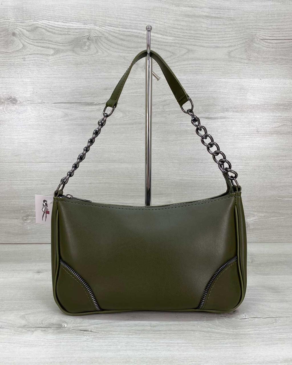 Оливковая женская сумочка кроссбоди через плечо на длинном ремешке