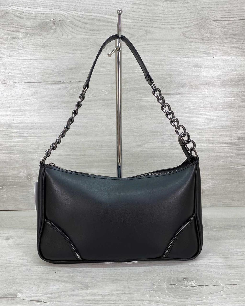 Маленька жіноча чорна сумочка через плече на довгому ремінці кроссбоди