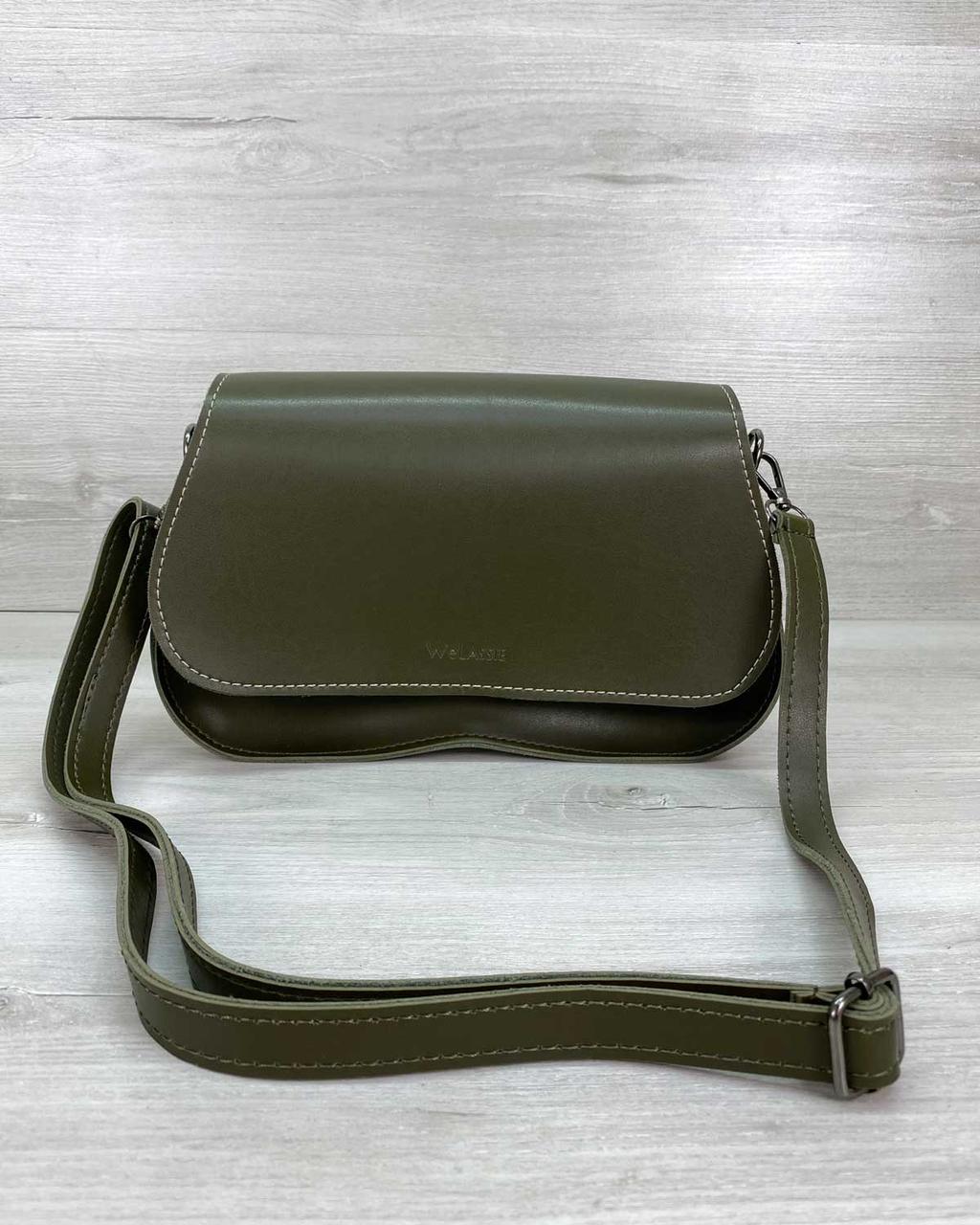 Оливковая маленькая женская сумка через плечо кроссбоди