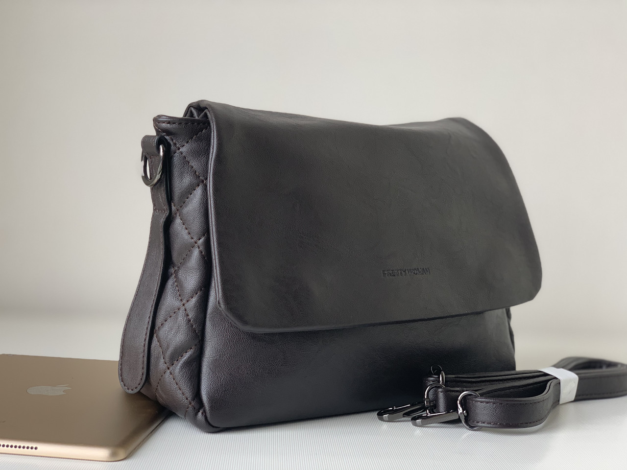 Шоколадная сумка женская темно-коричневая городская классическая Pretty Woman