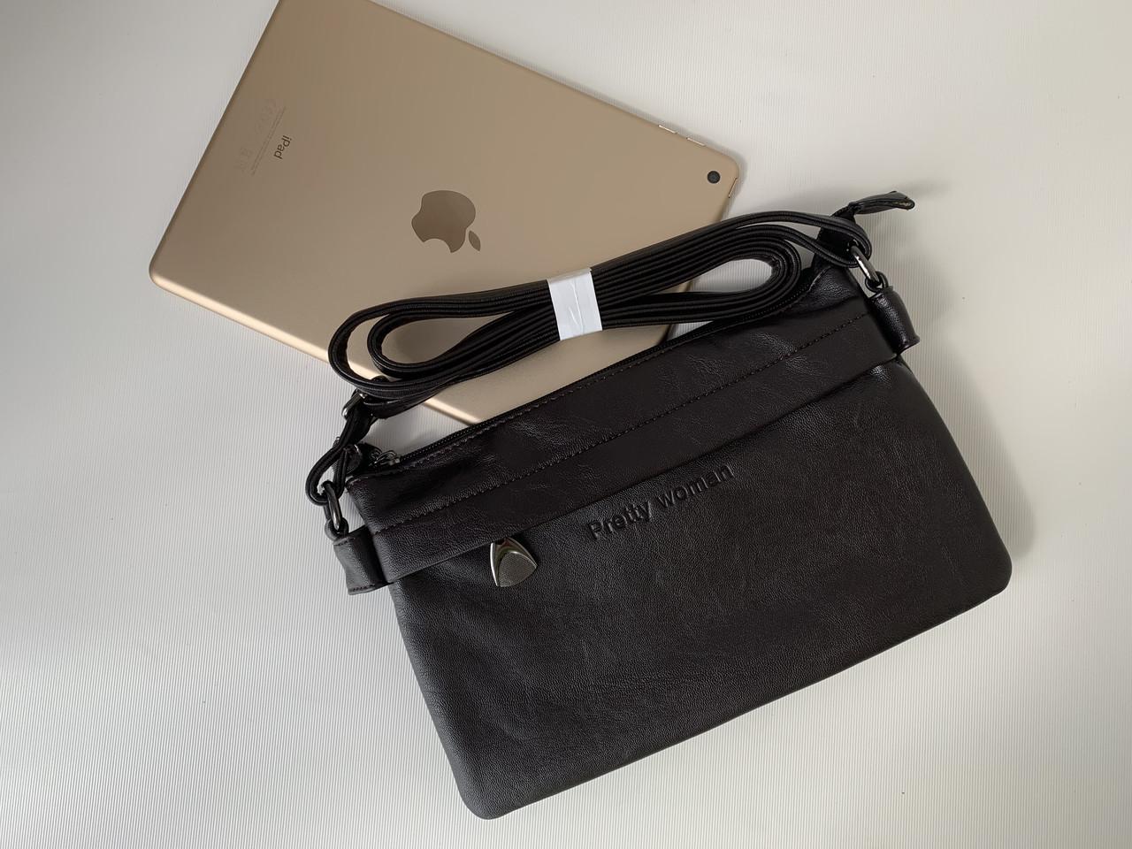 Маленькая сумка клатч темно-коричневая шоколадного цвета через плечо кроссбоди Pretty Woman