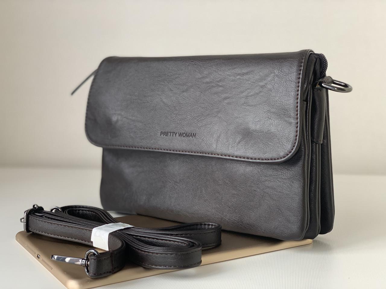 Женская шоколадная сумка клатч через плечо темно-коричневый Pretty Woman