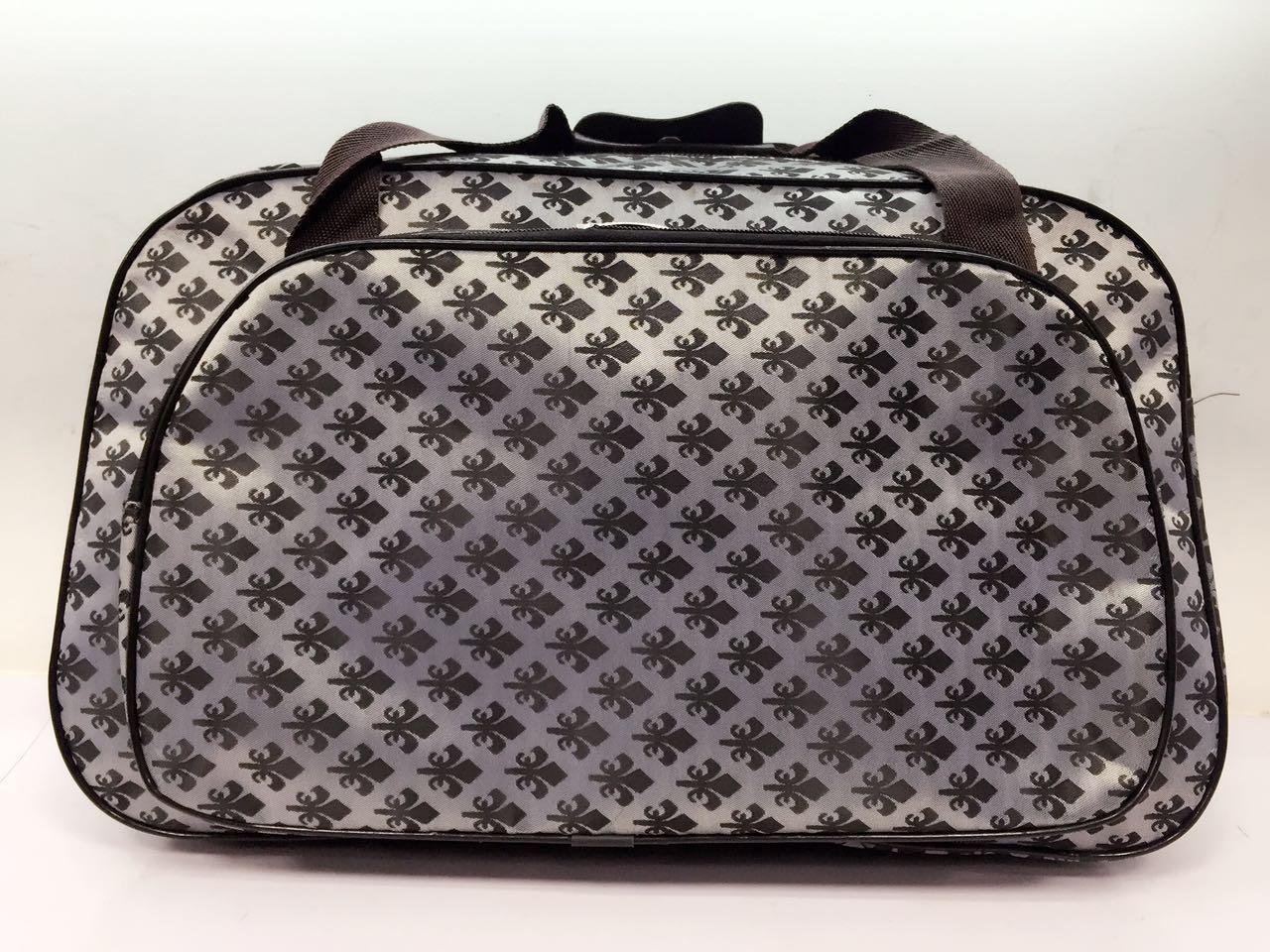 Дорожная сумка саквояж текстильная для ручной клади серая