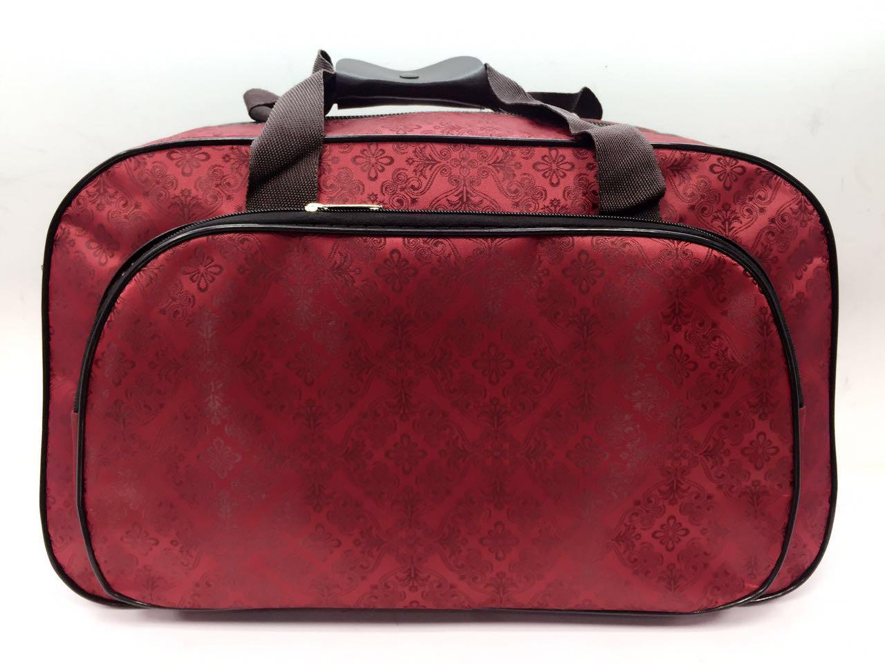 Сумка саквояж дорожная женская красная текстильная ручная кладь в самолет