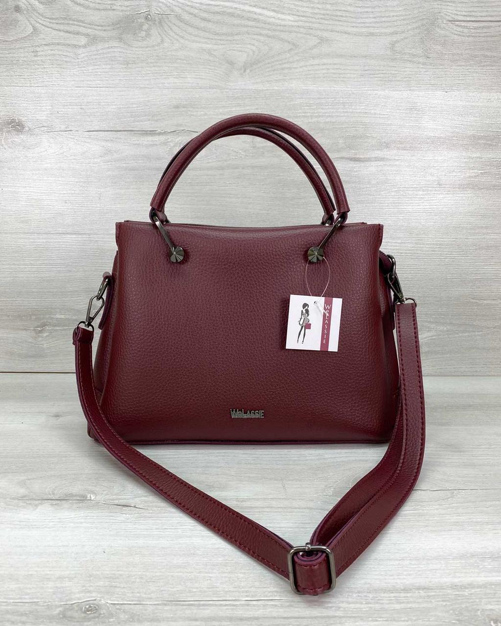 Бордовая женская вместительная сумка с плечевым ремнем