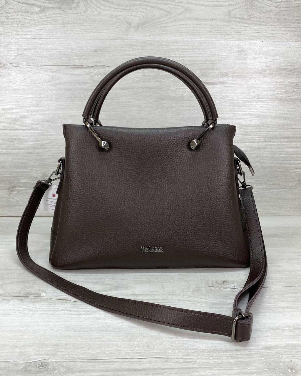 Женская молодежная сумка шоколадного цвета