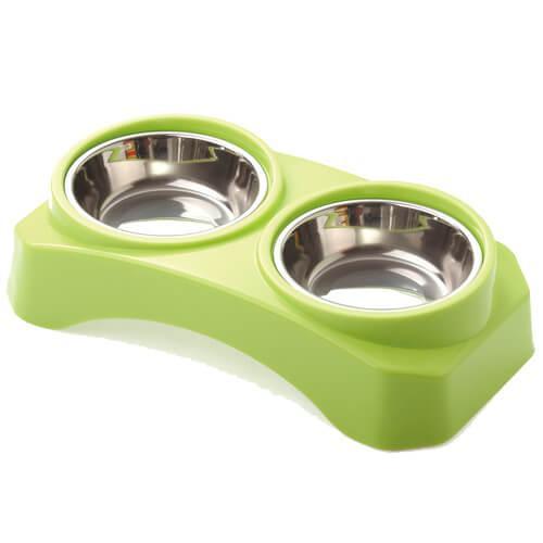 Миска AnimAll для кошек и собак с подставкой 2x300 мл зелёная