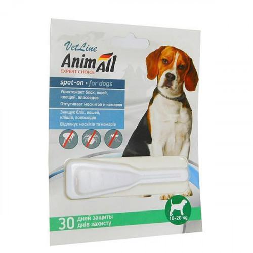 Капли AnimAll VetLine Spot-On от блох и клещей для собак весом 10-20 кг