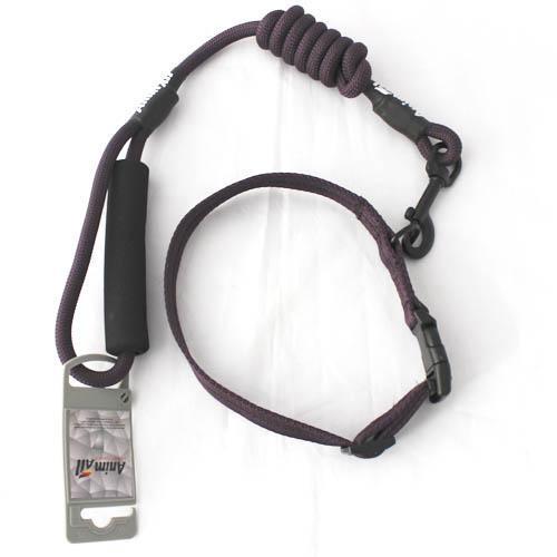 Комплект нашийник з повідцем AnimAll для собак S темно-фіолетовий