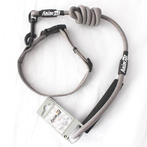Комплект ошейник с поводком AnimAll для собак S серый