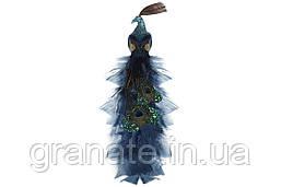 Декоративная птица Павлин на клипсе 40 см (4 шт)