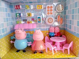 Игровой набор семья Свинки в кафе, 4 фигурки, мебель, аксессуары