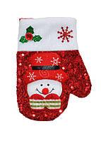 Варежка украшение новогоднее снеговичок