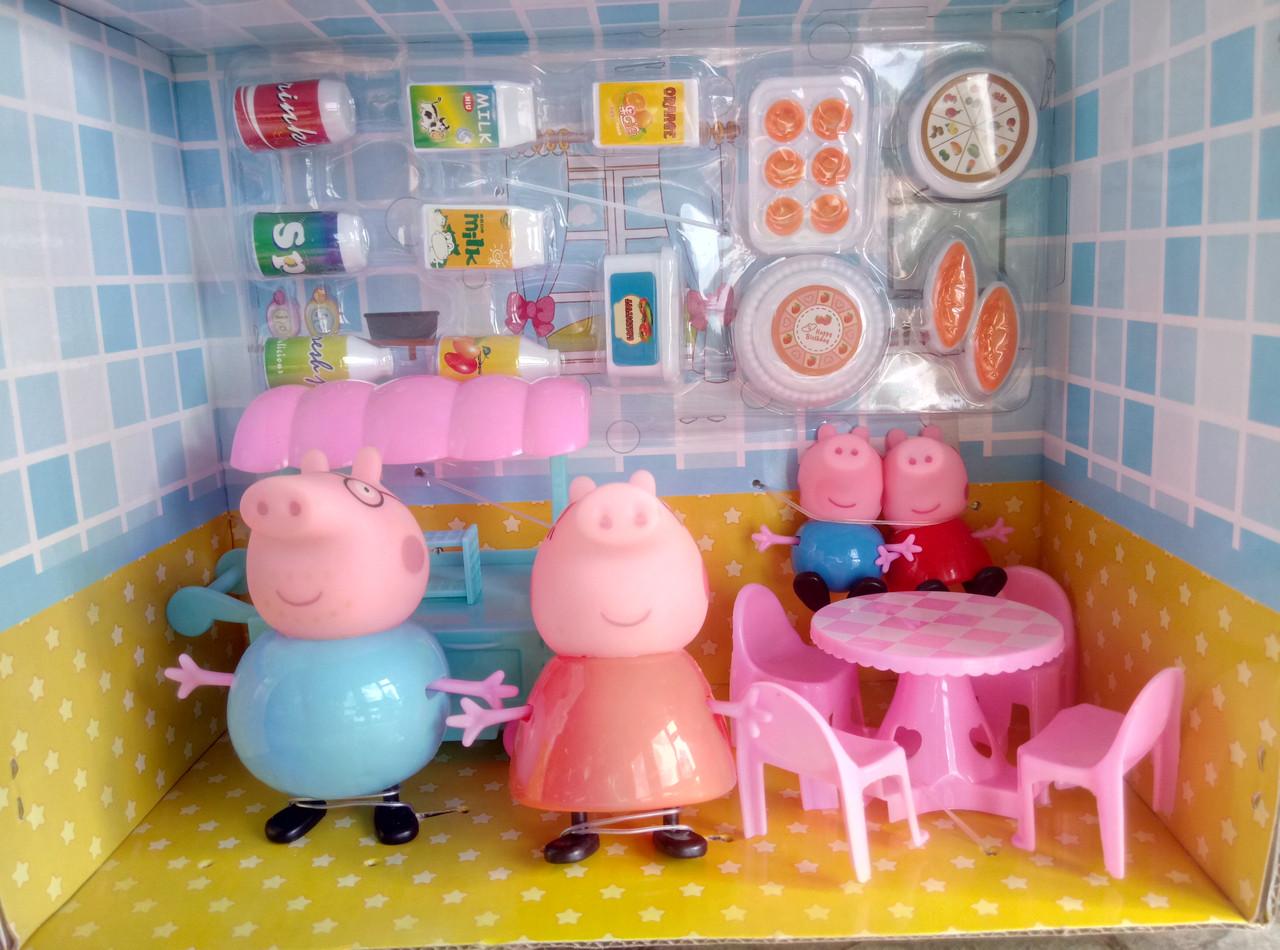 УЦЕНКА! Игровой набор кафе Свинки, 4 фигурки, мебель, аксессуары