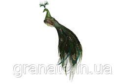 Декоративная птица Павлин на клипсе 27 см (6 шт)