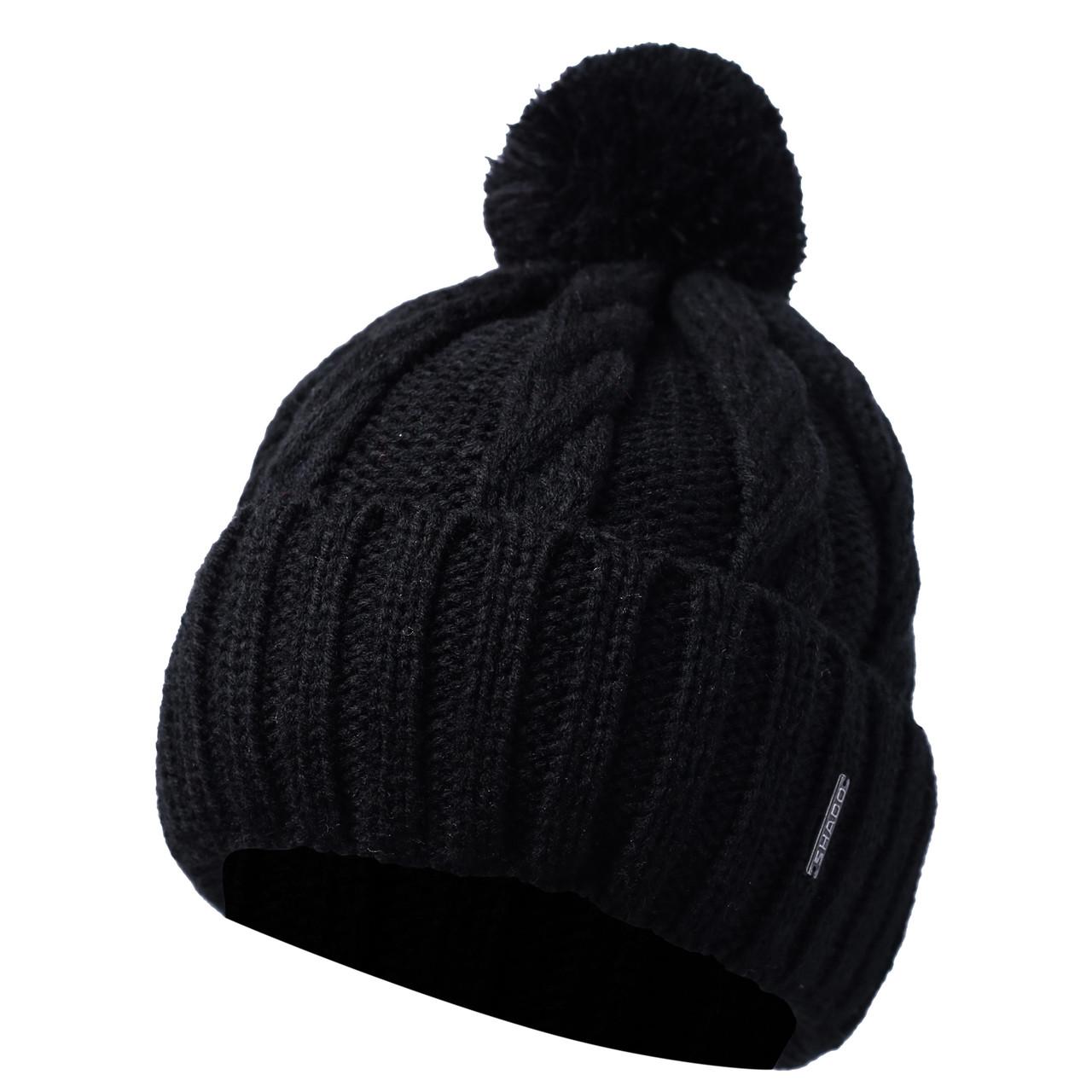 Мужская шапка с Бубоном на флисе и отворотом Черный