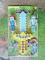 Игровой набор Майнкрафт с мечем, фигурками и аксессуарами, звук, свет