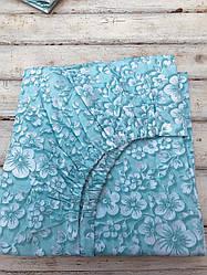 """Простынь на резинке двуспальная 180х200х18 """"Нежные цветы"""" голубая из бязи голд"""