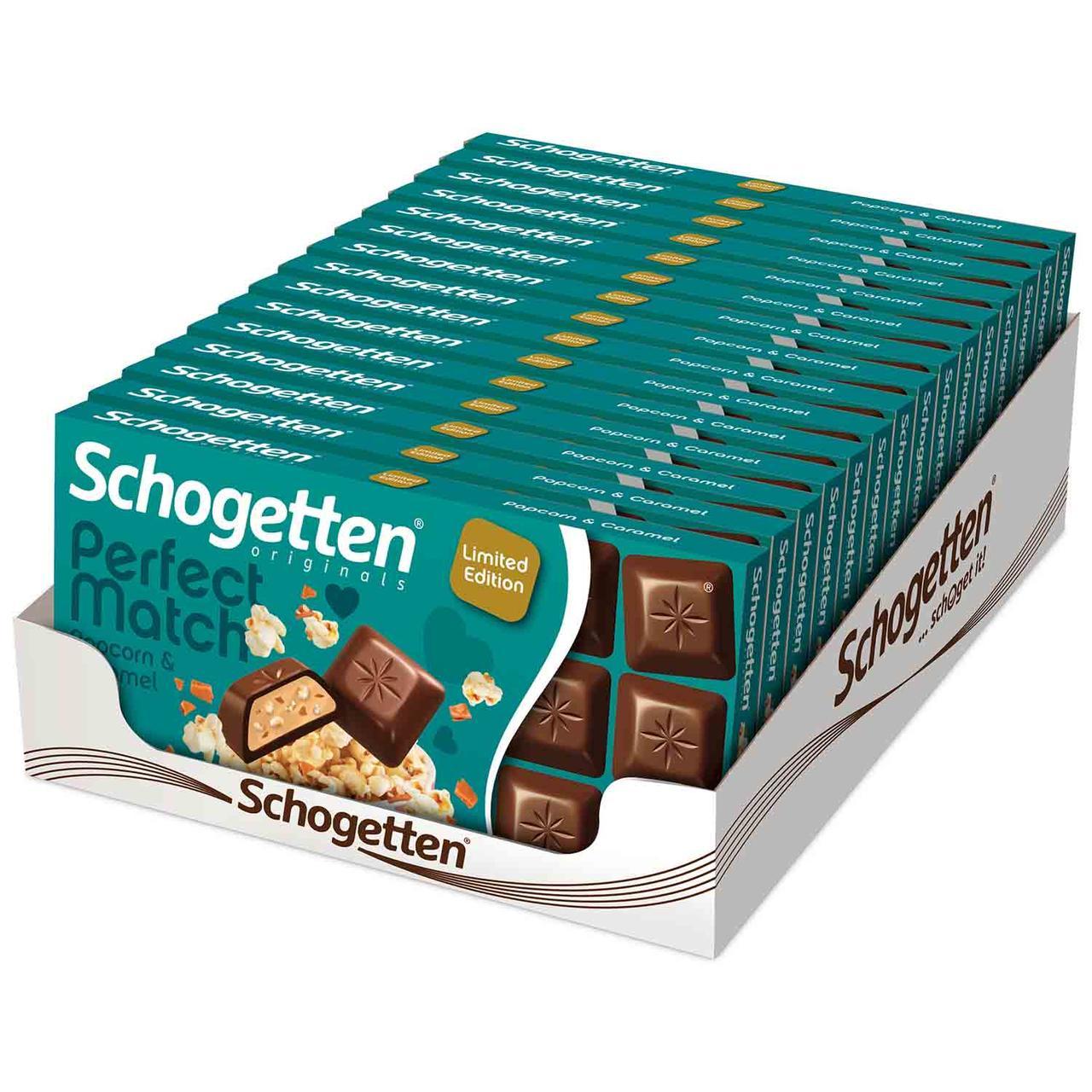 Шоколад молочний Schogetten Perfect Match Popcorn & Caramel карамель з начинкою попкорн 100g, Німеччина