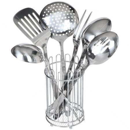 Набор кухонных принадлежностей из нержавейки 6 пр.с подставкой Kamille