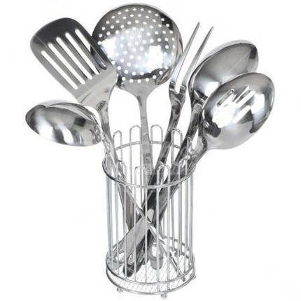 Набор кухонных принадлежностей из нержавейки 6 пр.с подставкой Kamille, фото 2