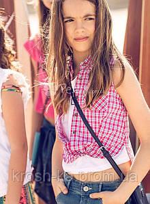 Рубашка для девочки Zhaklina клетка Tiffosi Португалия розовый 6815