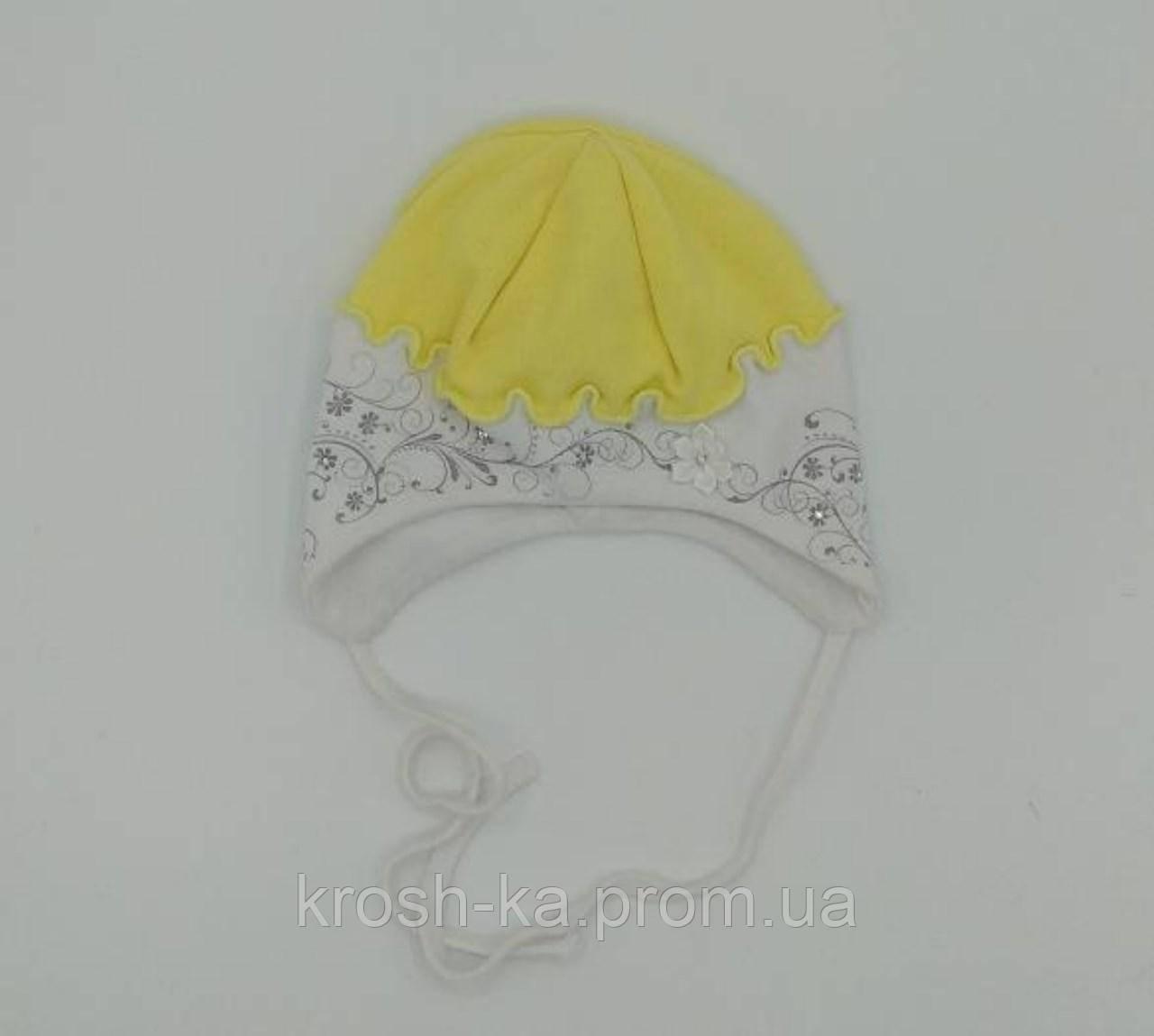 Шапочка для новорожденных на завязках жёлтая Ляля(36-38)р D.Star Украина 0077
