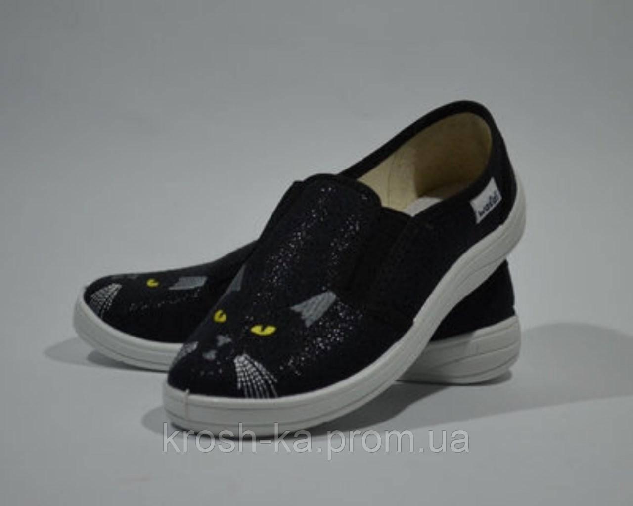 Тапочки для девочки Вика (30-36)р котики Waldi Украина чёрный 6229\51-495