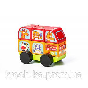 Деревянная игрушка Автобус Весёлые звери LM-10 Levenya Cubika Украина 13197