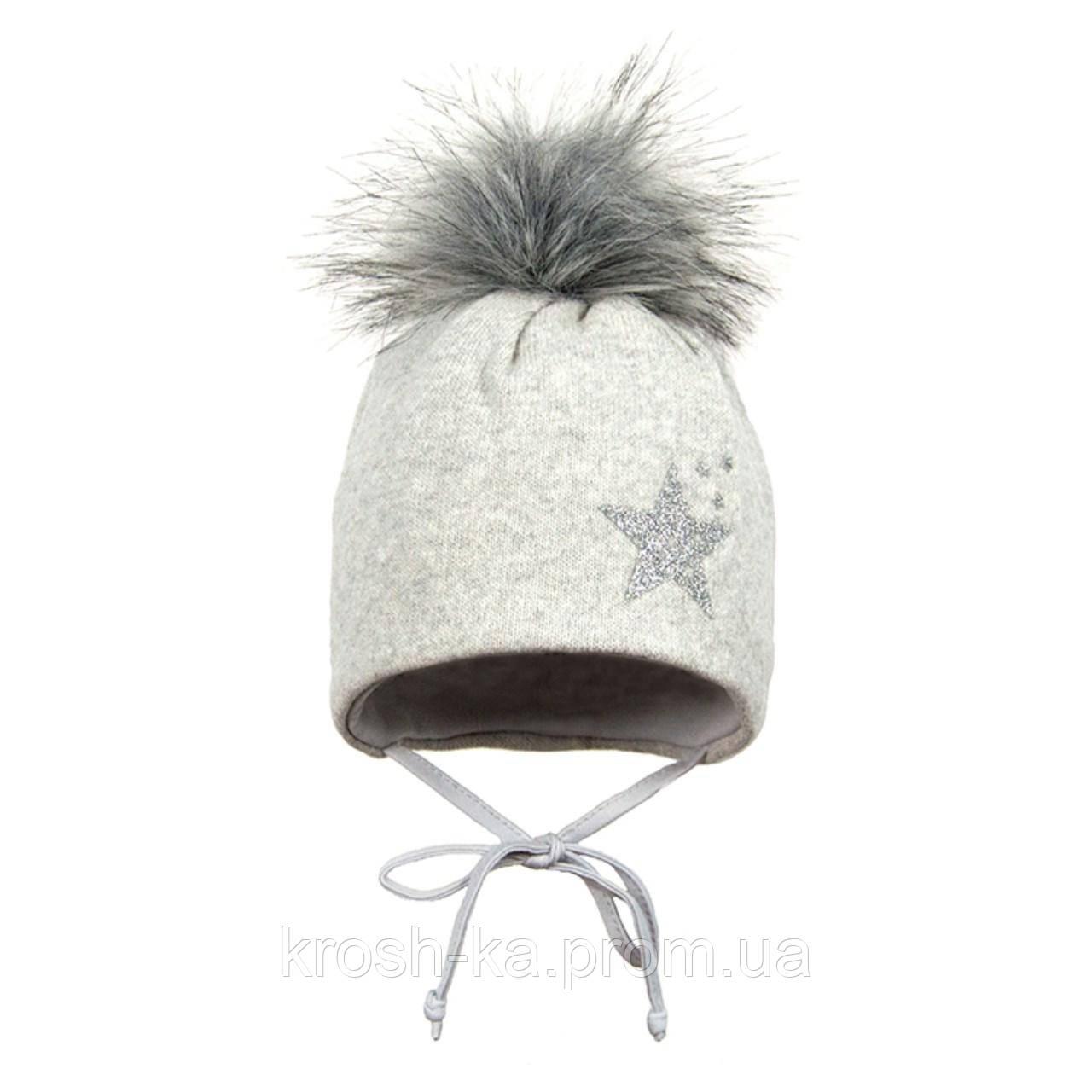 Шапка для девочки (37)р с помпоном на завязках серый Broel Польша Hela
