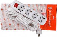 ElectroHouse Garant Удлинитель 4-гнезда 10м. с кнопкой белый С/З (EH-4x10m)