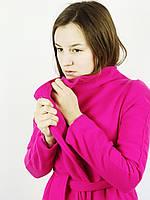 Пальто женское кашемировое Корея малиновое 0189