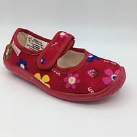Тапочки для дівчинки Квіточки (25 розмір) Китай червоні 0104