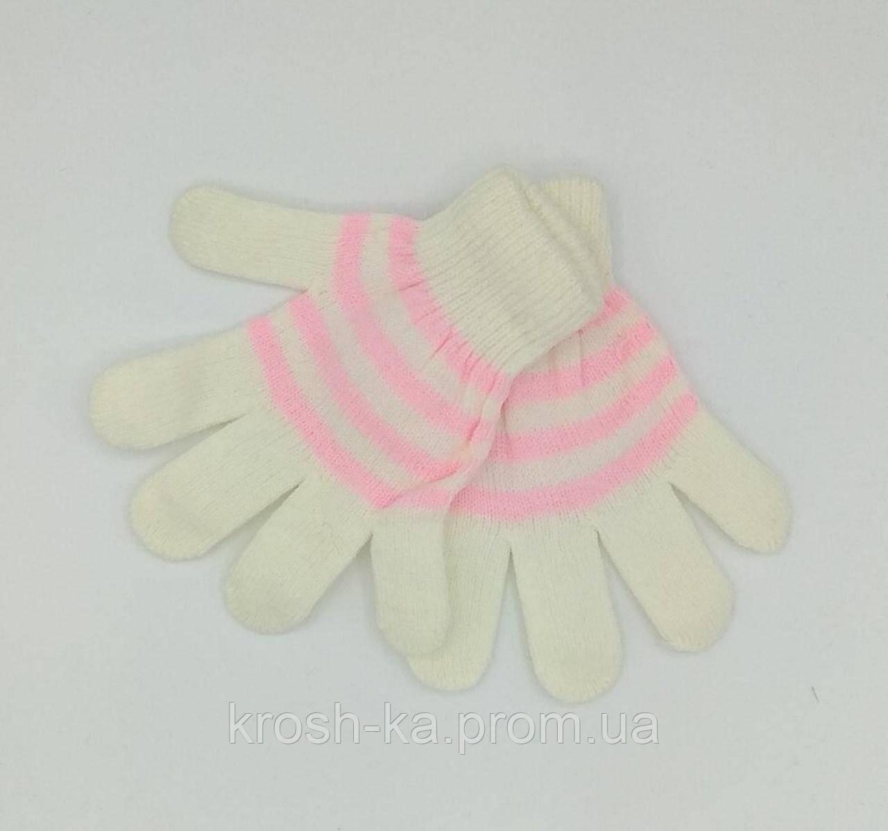 Перчатки для девочки бело-розовые(104-116)р Польша 7372