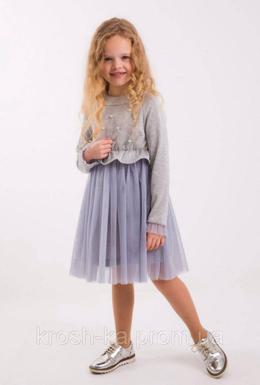 Платье для девочки Жюлис серебро фатиновое  (104-128)р (Suzie)Сьюзи Украина ПЛ-86903