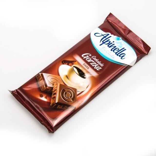 Черный горький шоколад Alpinella Czekolada Gorzka Dark, 90г Польша