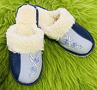 Капці жіночі шкіряні з овечої шерсті(Домашні жіночі шкіряні тапочки з овечої вовни) 38 розмір