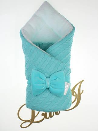 Вязаный конверт для новорожденного зимний Косичка мятный, фото 2